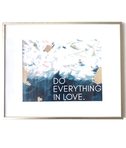 do everything in love print, abstract art blue and gold