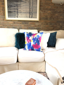 abstract art whimsy pillow, hand-painted, periwinkle blue dark blue white yellow gold paint