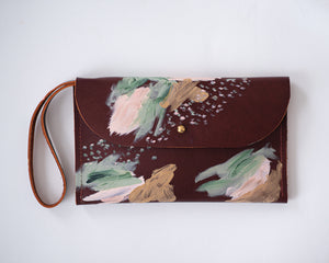 Cordovan leather green, peach, metallic gold paint, abstract painting