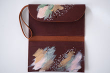 Load image into Gallery viewer, Cordovan leather green, peach, metallic gold paint, abstract painting