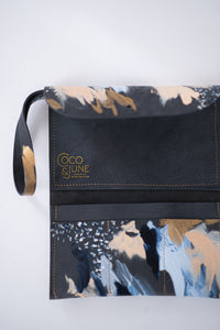 Charcoal leather clutch, sky blue, peach, metallic gold paint, abstract painting