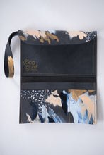 Load image into Gallery viewer, Charcoal leather clutch, sky blue, peach, metallic gold paint, abstract painting