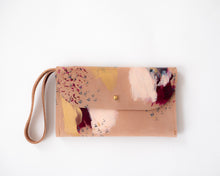 Load image into Gallery viewer, Blush leather burgundy, peach, grey, metallic gold paint, abstract painting