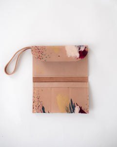 Blush leather burgundy, peach, grey, metallic gold paint, abstract painting