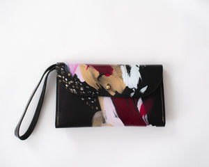 Black leather clutch, fuschia, light pink, white, metallic gold paint, abstract painting