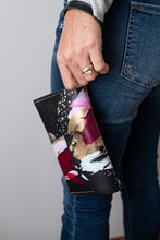 Load image into Gallery viewer, Black leather clutch, fuschia, light pink, white, metallic gold paint, abstract painting