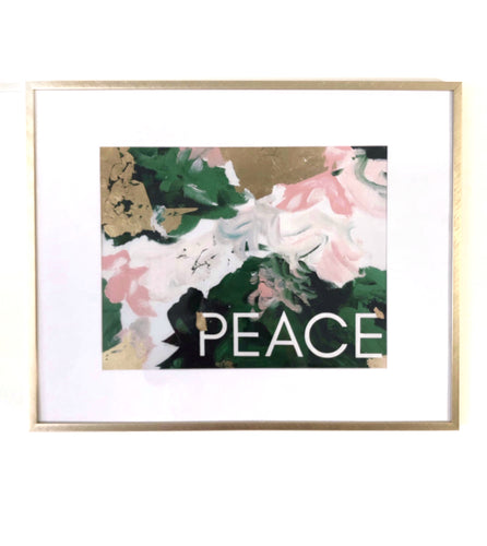 peace print, peach, dark green gold, abstract art