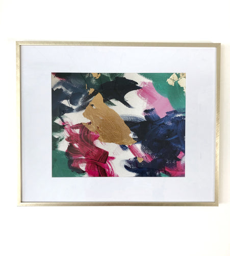 jubilance print, dark pink green navy gold, abstract art