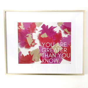 You are Greater Than You Know print, red and pink and gold, abstract art