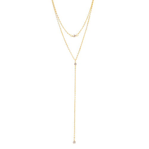 Crystal Strand Lariat Necklace