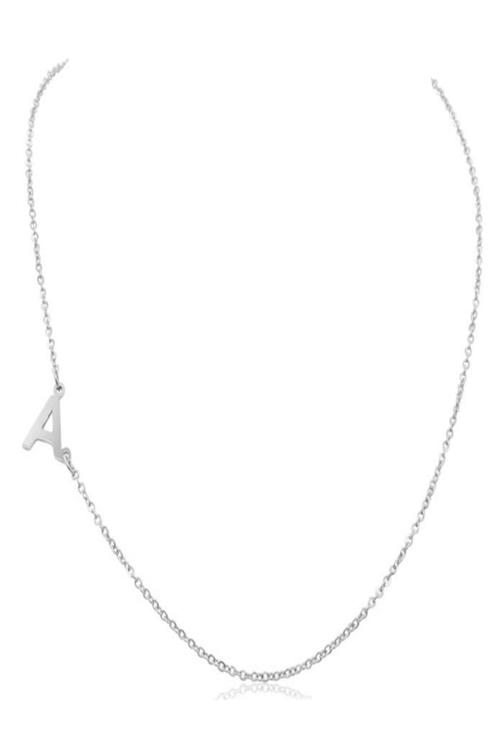 Mini Initial Necklace (Silver)