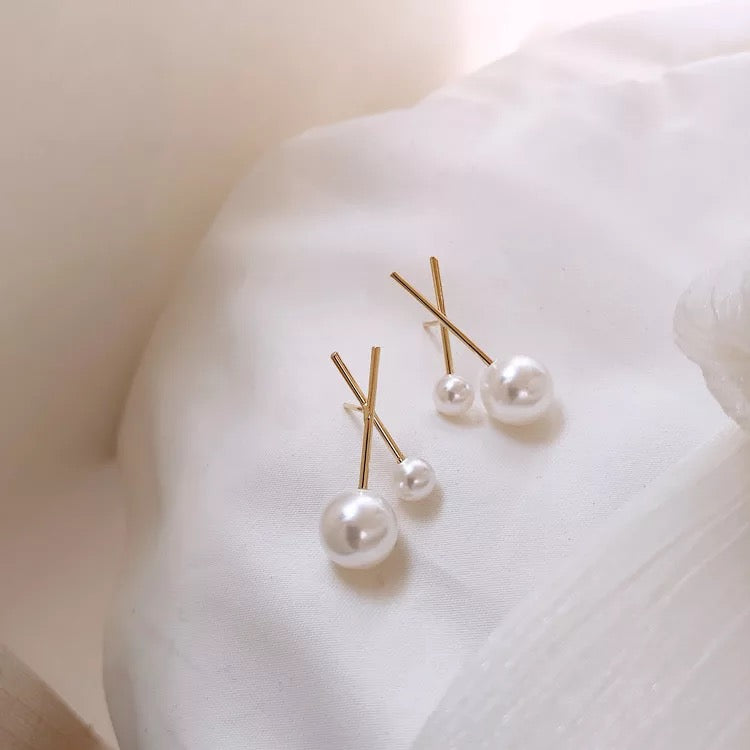 Pearl Accent Earrings (Gold)