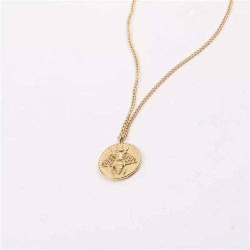 Honeybee Coin Necklace (Gold)