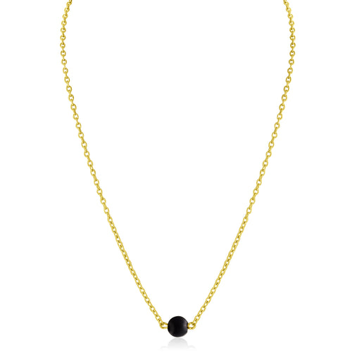 Dainty Bead Necklace (Onyx)