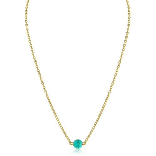 Dainty Bead Necklace (Turquoise)