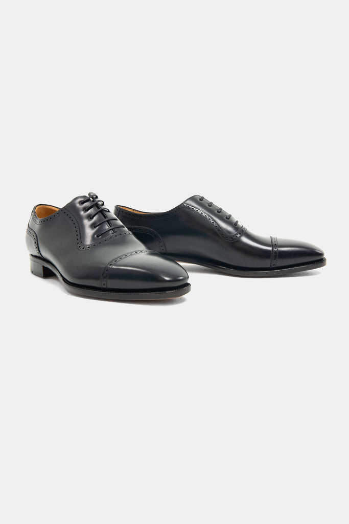 Black Calf Cap Toe Oxford