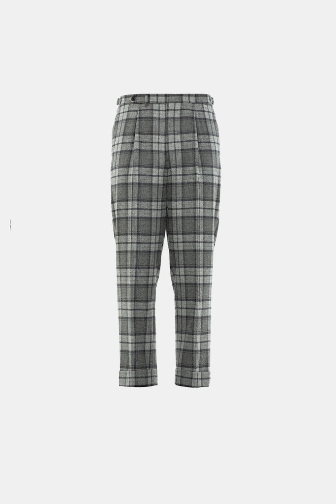 Grey Plaid Flannel Trouser