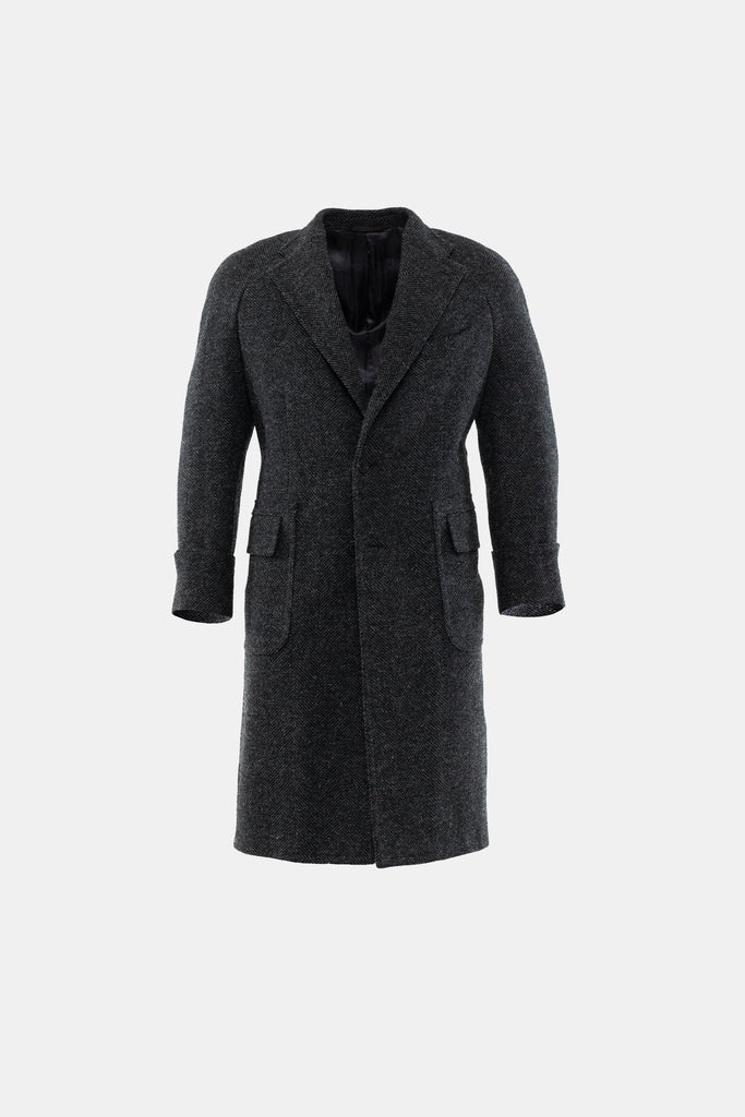 Charcoal Herringbone Overcoat