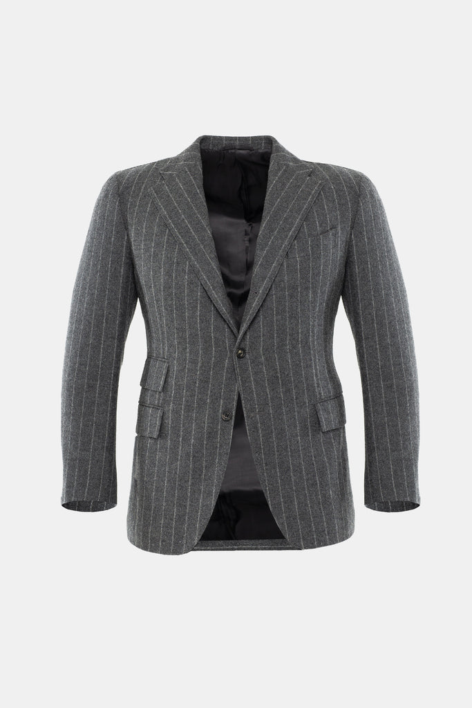 Grey Chalk Stripe Flannel Suit Jacket