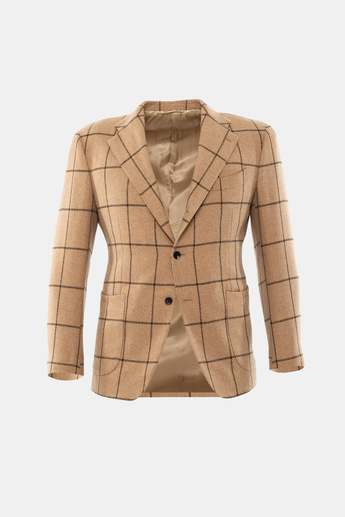 Camel Brown Windowpane Jacket