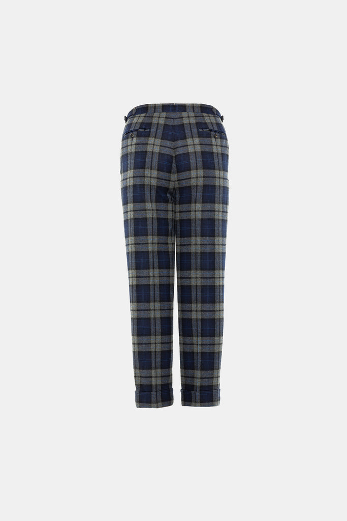 Blue Grey Plaid Trouser