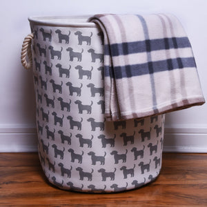 Large Canvas Storage Basket with Dog pattern