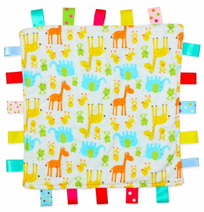 Baby Tag Blanket with Giraffes and Elephant