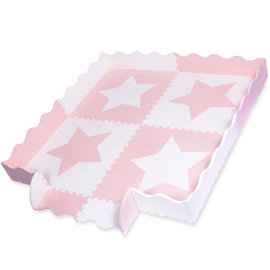 White & Pink Star Interlocking Foam Baby Play Mat