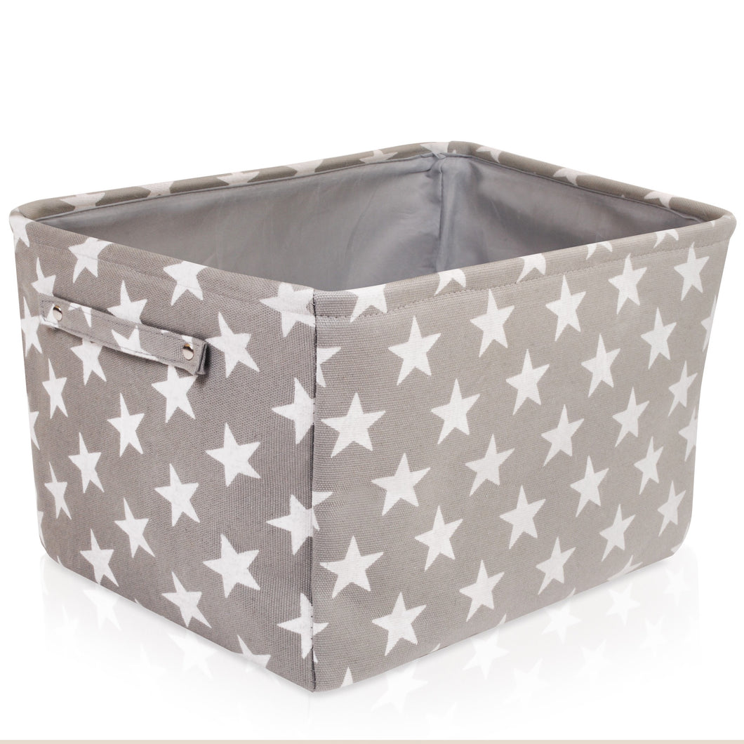 Grey star rectangle storage basket