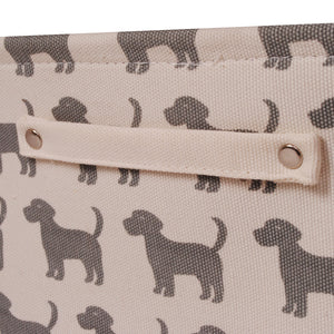 Cream Dog Canvas Storage Basket