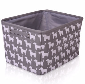 Grey Dog Canvas Storage Basket Rectangle