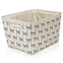Load image into Gallery viewer, Cream Cat Canvas Storage Basket