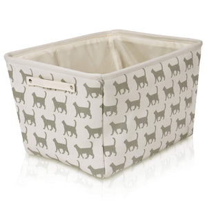 Cream Cat Canvas Storage Basket