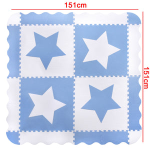 White & Blue Star Interlocking Foam Baby Play Mat