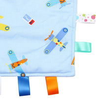 Load image into Gallery viewer, Blue Baby Tag Blanket With Planes