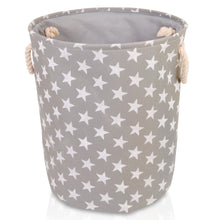 Load image into Gallery viewer, Round grey star canvas storage basket