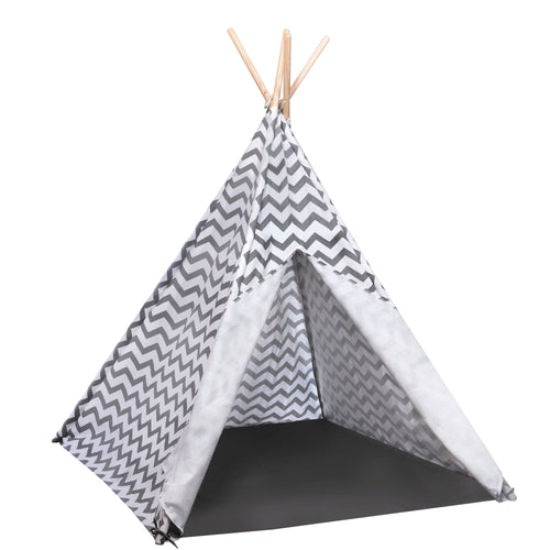 Grey and White Chevron Teepee Play Tent