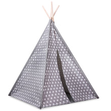 Load image into Gallery viewer, Grey Star Teepee Play Tent
