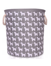 Load image into Gallery viewer, Large Grey Canvas Storage Basket with Dog Pattern