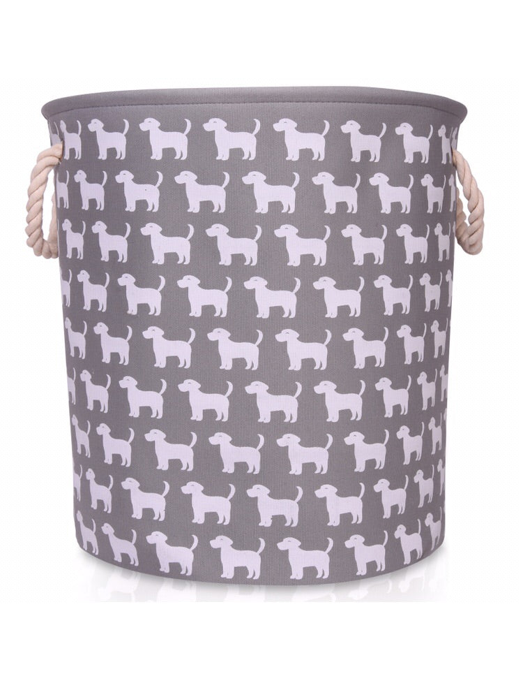 Large Grey Canvas Storage Basket with Dog Pattern