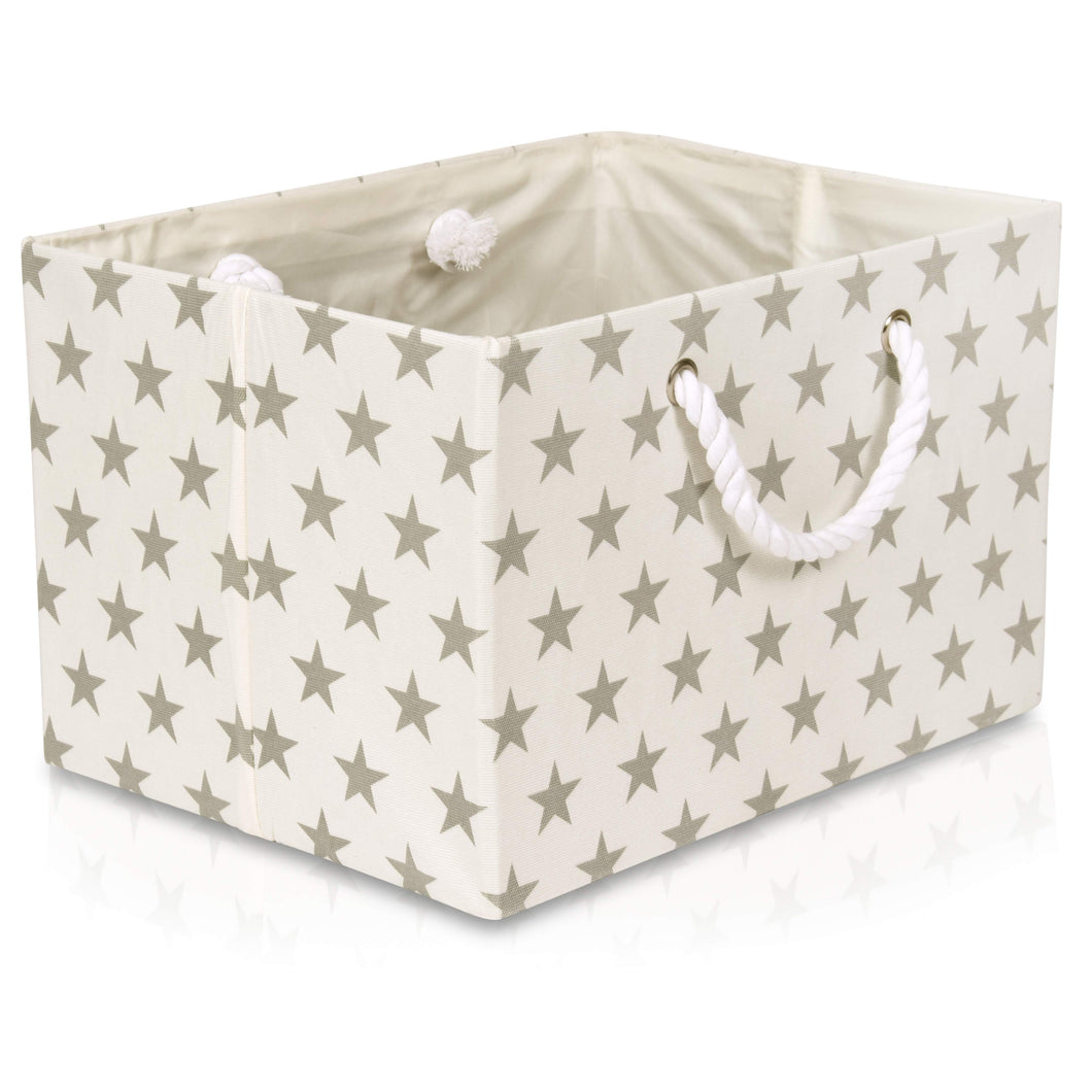 Foldable cream with grey star storage basket