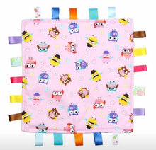 Load image into Gallery viewer, Pink Baby Tag Blanket with Owls