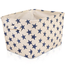 Load image into Gallery viewer, Cream Storage Basket with Blue Stars
