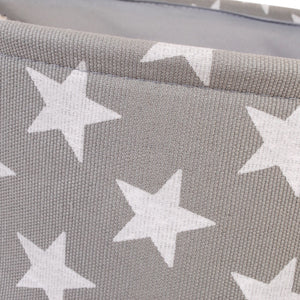 Round grey star canvas storage basket
