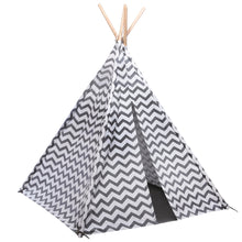 Load image into Gallery viewer, Grey and White Chevron Teepee Play Tent