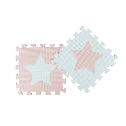 Pink and White Star 9 Tile Baby Play Mat