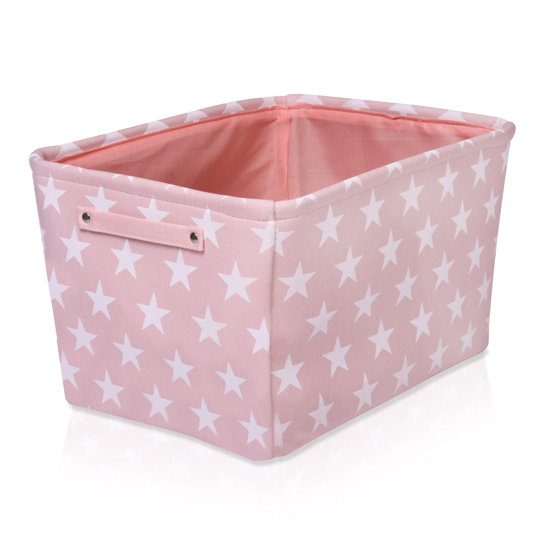 Pink Star Canvas Storage Basket Rectangle