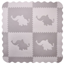 Load image into Gallery viewer, Large Grey Elephant Interlocking Foam Baby Play Mat