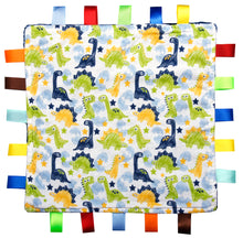 Load image into Gallery viewer, Dinosaur Baby Tag Blanket
