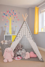 Load image into Gallery viewer, Grey and White Heart Teepee Play Tent